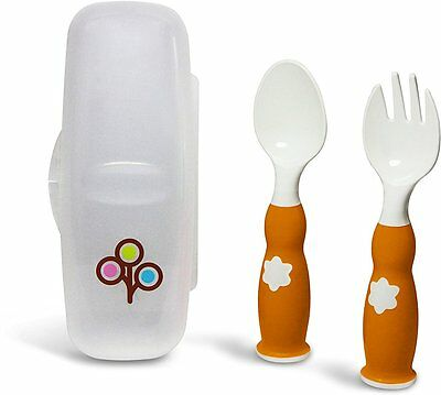 Ergonomic Fork and Spoon Set, ZoLi, Orange