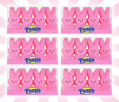 x6 Peeps Marshmallow Candy Easter Bunnies Pink 4 Piece Pack's (24 Bunnies)