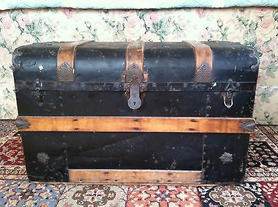 Antique Trunk with Black Metal and Wood Straps and Lift Out Tray