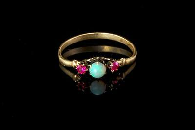 Antique Victorian Natural Opal Ruby 14K Gold Ring  (042317050)