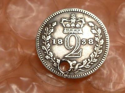 Great Britain 1838 Twopence  Maundy Coin Holed #2