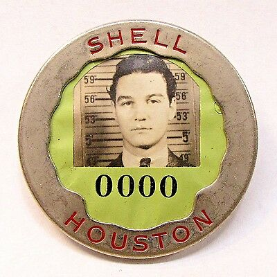 late 1930's to 1940's SHELL HOUSTON gasoline oil employee badge pinback +