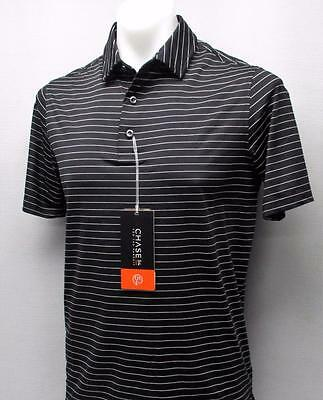 New Mens Small CHASE 54 polyester spandex black pinstriped golf polo shirt