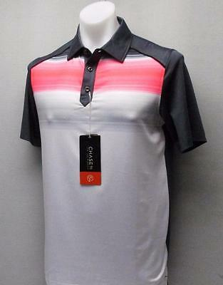 New Mens Small CHASE 54 polyester spandex Neon Coral golf polo shirt