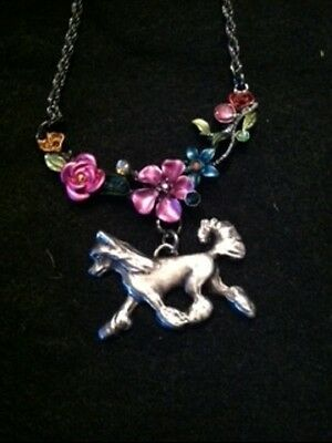 Chinese Crested Dog Enamel Flowers Necklace~~so pretty!!!!  Hairless