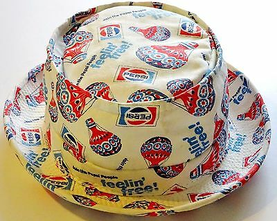 Vintage Circa 1974 People Feelin FREE Pepsi Hat BEACH Cap Canvas Bucket Small