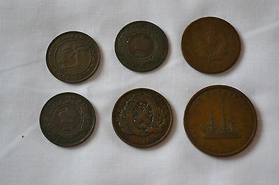 6 Canada 1800's Province Coins and Tokens