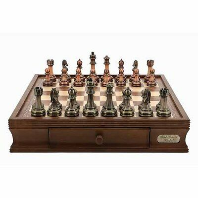 """New Dal Rossi Chess Set 16"""" Antique Green and Copper Finish Chessmen Board game"""