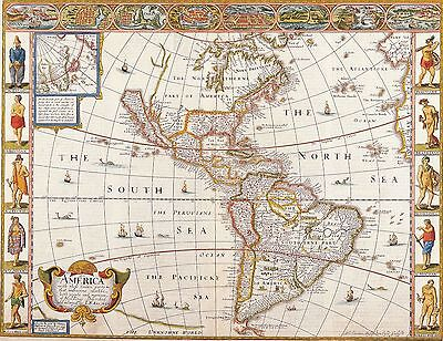 12x18 inch Reprint of Old Map Of The Americas #5