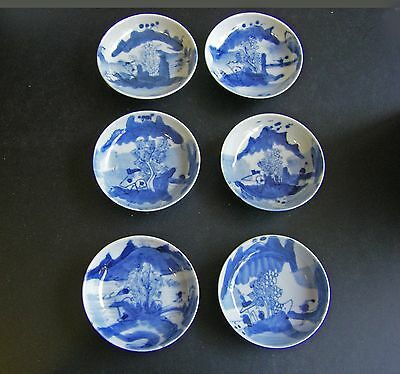 Antique Chinese Set Of 6 Blue And White Small Dishes