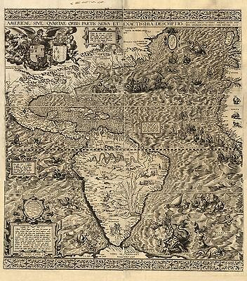 12x18 inch Reprint of American Map South America