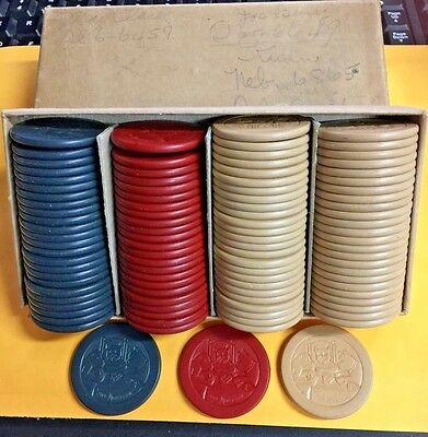 STOP MONKEYING AROUND, Vintage Harris 1-1/2in Clay Poker Chips Whole Set w/Box