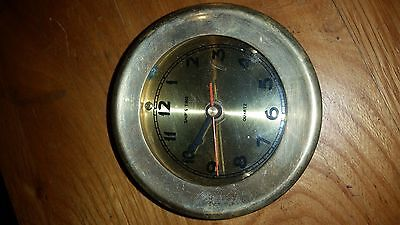"Vintage Small Porthole Solid Brass Clock "" Ship's Time"" Quartz Nautical"