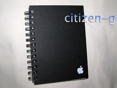 """New Unused APPLE Inc. Black Spiral Journal Notebook: 5"""" x 7"""" with Company Logo"""
