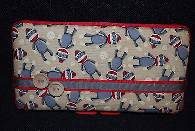 Handmade Sock Monkey Print Fabric Covered Baby Diaper Wipes Travel Case