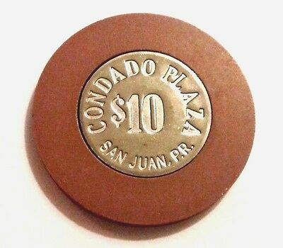 $10 CONDADO PLAZA Solid BROWN COIN Casino Chip SAN JUAN Puerto Rico Bud Jones