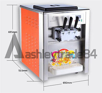 220V Commercial Soft Ice Cream Machine 2+1mix Flavor Twist Soft Ice Cream Maker