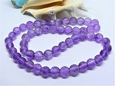 """GEM GRADE NATURAL PURPLE FACETED AFRICAN AMETHYST 8mm ROUND BEADs 16"""" STRAND"""