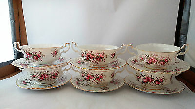 Royal Albert Lavender Rose Set of SIX Cream Soup Cup / Bowl and Saucer Sets
