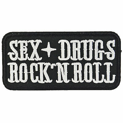 Sex Drugs Rock Roll Iron On Patch Badge Embroidered Biker Punk Motorcycle Music