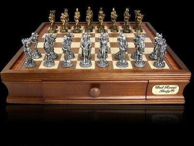 New Dal Rossi 95 mm Pewter Medieval Chess Set Board game