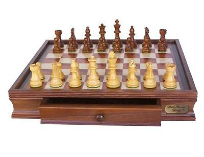 """Dal Rossi Chess Set 16"""" With Boxwood/Sheesham 85mm pieces Wood Double Weighted"""