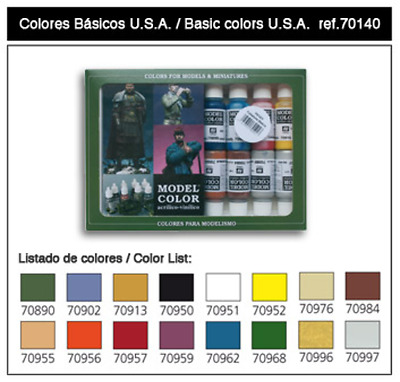 Vallejo Model Colour Set 140 USA Basics (16 Paints) Acyrilic Brand New 70140
