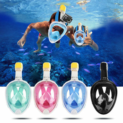 Full Face Snorkel Mask Scuba Diving Snorkelling For GoPro Free 2L Waterproof Bag