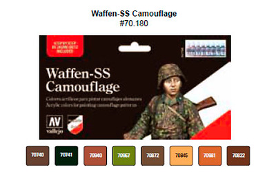 Vallejo Model Colour Waffen SS Set (8) Acrylic Paint Set Brand New 70180