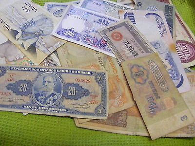 Lot of 20 Used World Banknotes, plus 6 Chinese Temple Money..so 26 total(B).