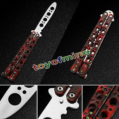 Cool Practice Training BALISONG Butterfly Dull Knifes Style Metal Trainer Tool