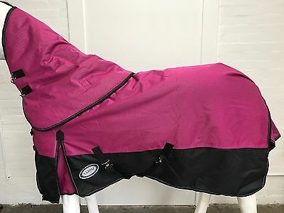 AXIOM 1800D BALLISTIC PINK/BLACK 300g HORSE RUG w/h DETACHABLE NECK  - 6' 0
