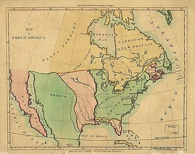 12x18 inch Reprint of North American Map Northern Usa
