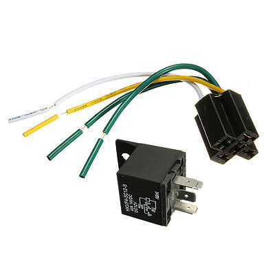 Car Truck Auto DC 12V 40A 40 AMP SPST Relay Relays 4 Pin 4P & Socket 4 Wire WH