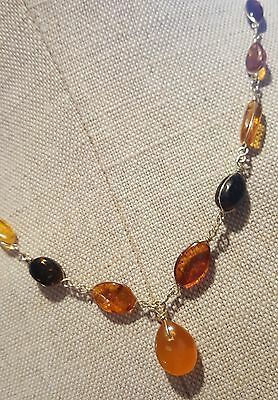 Vintage wire wrapped amber necklace butterscotch root beer cognac amber nice