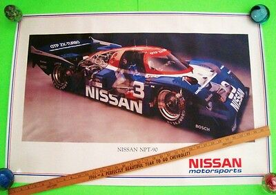 """rare 1990 NISSAN ZX TURBO GTP RACE CAR POSTER 36"""" X 24"""" AWESOME CUT-AWAY PHOTO"""