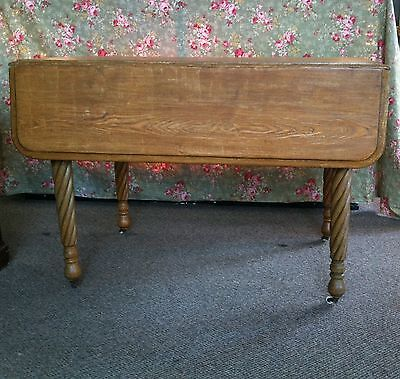 Drop Leaf Table Antique Chestnut & Oak  with Rope Twist Legs