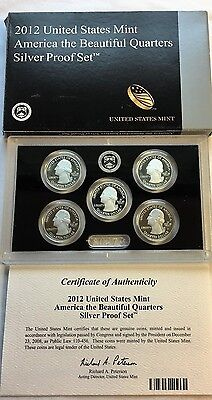 2012 S U S Mint American the Beautiful Quarters Silver Proof Set with Box & COA