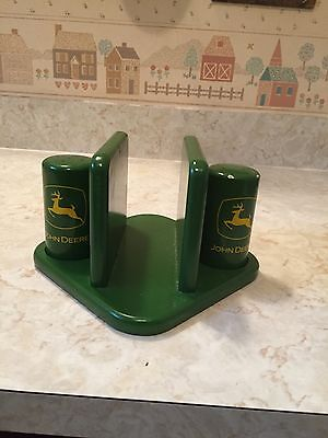 John Deere Green Wood Salt And Pepper Napkin Holder Center Piece
