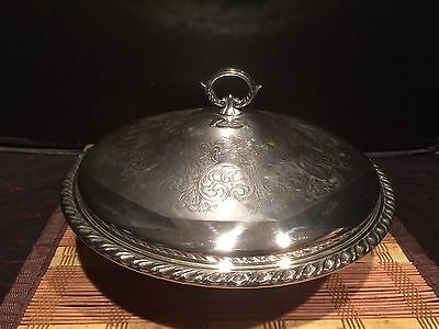 """Oneida Silver-plate Bowl w/ Decorative lid and glass bowl insert 11"""""""