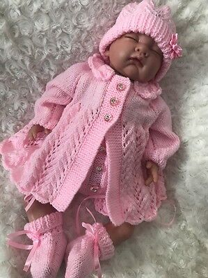 "New: Stunning Hand Knitted 4 Piece Outfit  For 22"" Reborn Baby Girl"