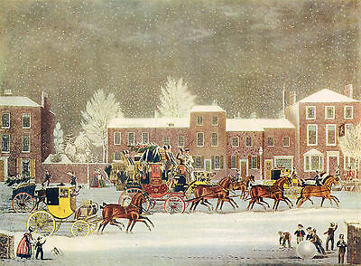 Approach To Christmas by George Hunt after James Pollard Antique 1908 Print