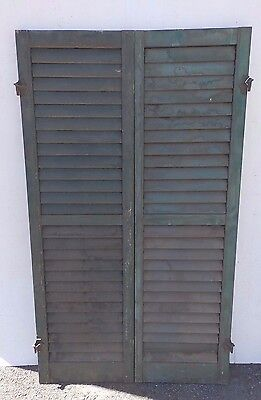 Pair Antique Window Wood Louvered Shutter Shabby Old Chic Vtg 53x15      471-17R