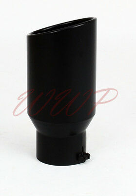 "Stainless Steel Black Angle Cut Roll End Exhaust Tip 2.5""Inlet 4""Out 12"" Length"