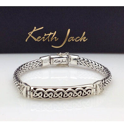Sterling Silver CELTIC KNOT Bar Dragon Weave Bracelet  Keith Jack Jewelry Unisex
