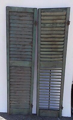 Two Antique Window Wood Louvered Shutter Shabby Old Chic Vtg 61x15 473-17R