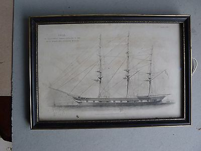 vintage framed and glazed print of sailing ship by Blackie