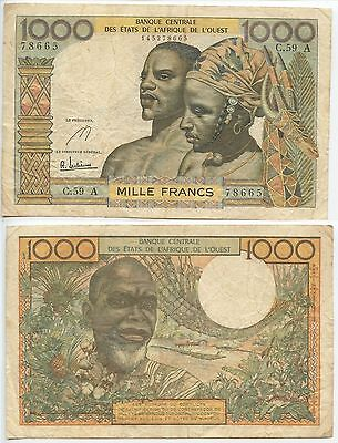 GB360 - French Westafrican States Ivory Coast 1000 Francs 1959-65 KM#103A.sign.e