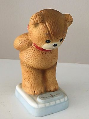 Vintage Lucy And Me Figurine 1984 Bear on Scale Weighing Self Weight Watcher