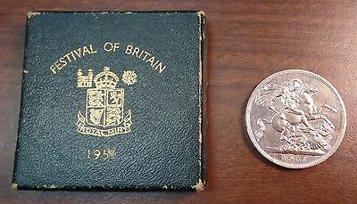 1951 Festival of Britain   5 Shillings Crown   UK King George VI   With COA